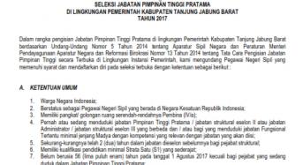 SELEKSI JABATAN PIMPINAN TINGGI PRATAMA  DI LINGKUNGAN PEMERINTAH KABUPATEN TANJUNG JABUNG BARAT  TAHUN 2017
