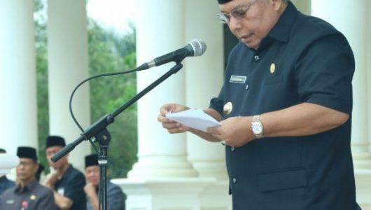 PEMKAB TANJAB BARAT GELAR UPACARA PERINGATAN HARI K3 TAHUN 2018