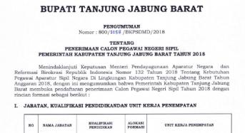 PENGUMUMAN FORMASI CPNS TAHUN 2018