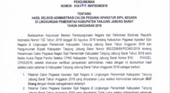 PENGUMUMAN SELEKSI ADMINISTRASI CPNS TAHUN 2018
