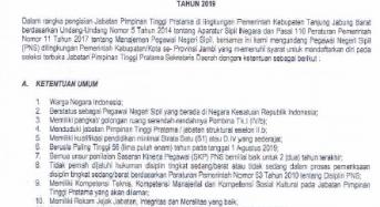 PENGUMUMAN SELEKSI JABATAN TINGGI PRATAMA SEKRETARIS DAERAH KAB. TANJAB BARAT TAHUN 2019
