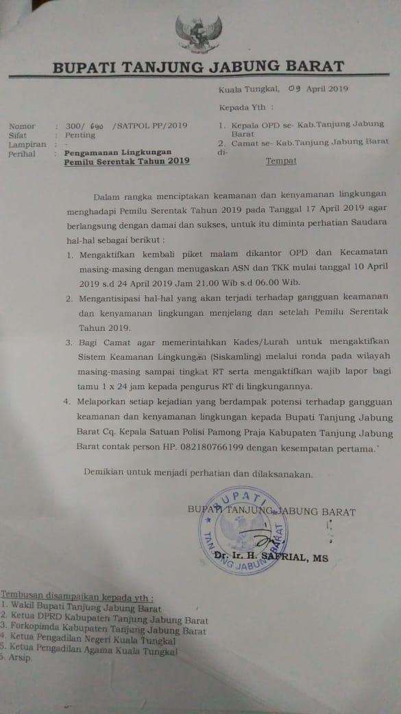 Jelang Pemilu Bupati Himbau Opd Aktifkan Piket Malam Dan